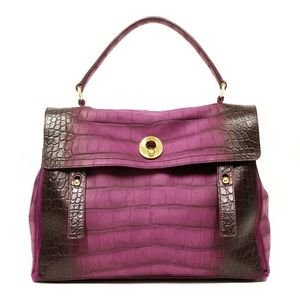 YSL Crocodile Embossed purple muse bag